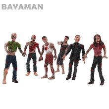 1set 6pcs Soldiers The Walking Dead Zombies Terror Corpse PVC Action Figure Collectible Model Toy 10Cm mezco saw the texas chainsaw massacre leatherface pvc action figure collectible model toy 23cm