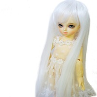 [ wamami ] 11# blanco lindo moda peluca recta 1/4 MSD AOD DOD BJD Dollfie 7 - 8