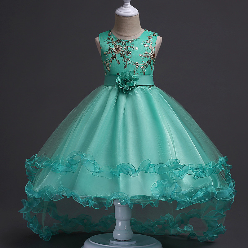 3-13yrs Hot Selling Baby Girls Flower sequins Dress High quality Party Princess Dress Children kids clothes 4 colors