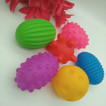 Baby Hand sensory Ball toy rubber Textured Multi tactile senses touch toys Kid Infant Oval training Massage soft balls 6pcs baby toys