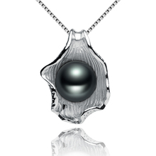 FEIGE 9 10mm Natural Black Freshwater Pearls Shell shaped Pendant Necklaces For Women s 925 Sterling