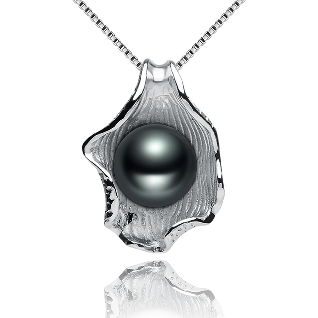 Natural Black Freshwater Pearl Pendant Necklace