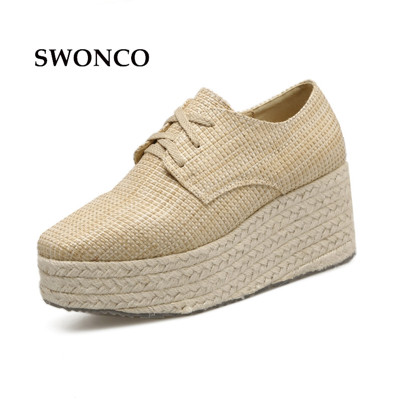 SWONCO Women's Flats Shoes 2018 Spring Lace Up Straw Shoe Women Shoes High Heel Wedges Casual Flats Platform Ladies Shoe 6 lcd display screen for onyx boox albatros lcd display screen e book ebook reader replacement