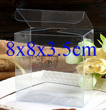 Wholesale100pcs=1lot Clear PVC Box/Case Packing Wedding/Christmas Favor Candy/Apple/Gift/Candle/Toys Box 8*8*3.5cm Can Custom