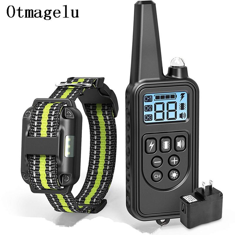800m Waterproof and Rechargeable Electric Dog Training Collar with LCD Display with Remote Control or Shock and Vibration 9
