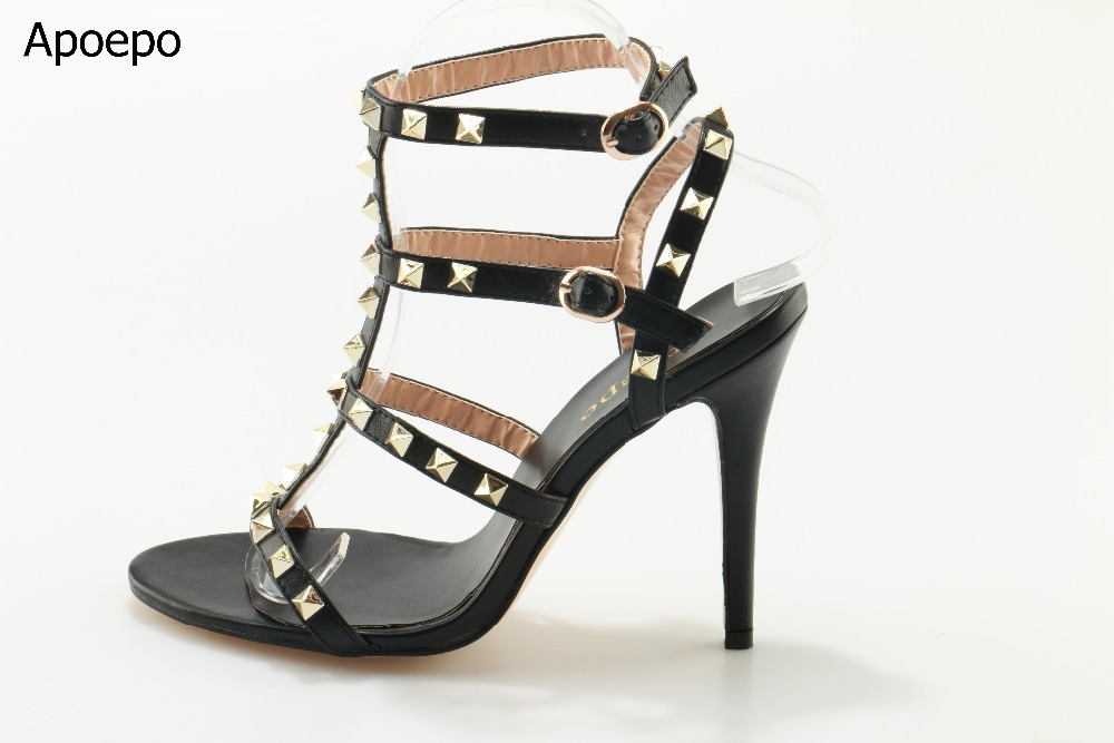 Summer Newest Women Sandal Thin Heels High Heel Shoes 2017 Solid Black Leather Ankle Buckle Strap Sandals Rivets Studded Shoes summer newest woman sandal thin heels high heel shoes 2017 solid red leather ankle buckle strap sandals rivets studded shoes