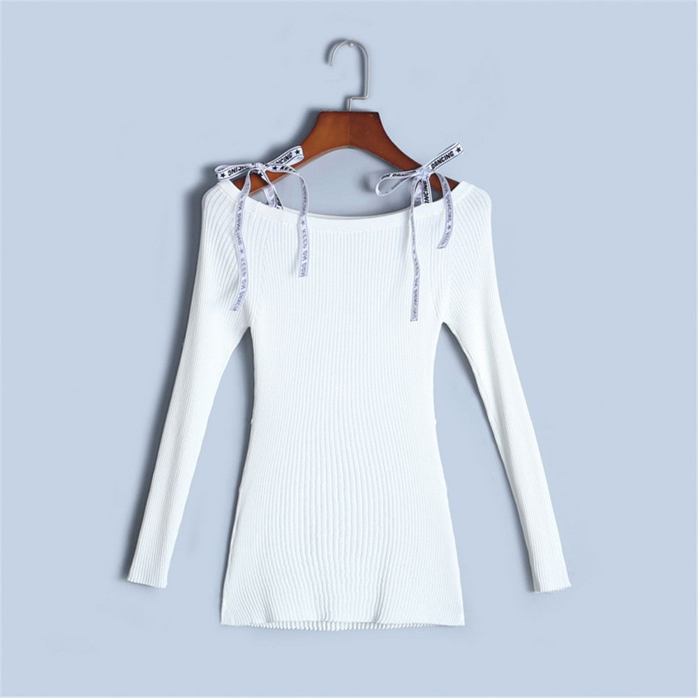 Runway Designer Off Shoulder Sweater Women 2018 New Spring Good Elastic Sweater Bodycon Pullover Knit Top Skinny Sexy Bow Jumper