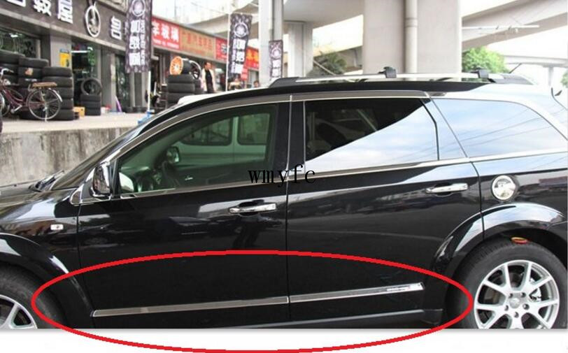 Car Accessories For Dodge Journey 2009-2016 Stainless Steel Side Door Body Molding Trims Strip Decoration 4Pcs stainless steel door side body garnish molding cover trim for toyota rav4 2014 2017 exterior decor strip car styling accessories