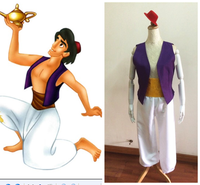 Animation Aladdin Prince Cosplay Costume Men Indian Clothes Uniform Fancy Dress With Hat