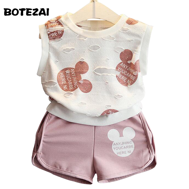 2017 Summer Style Girls Clothing Sets Cartoon Minnie Mickey Print T-shirt+Short 2Pcs for Kids Clothes 3-7Y Short Sleeve bear leader girls clothes 2016 fashion summer style boy clothing sets hello kitty short sleeve shorts 2pcs for kids clothes 3 7y