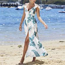 Tengeio 2018 Long Maxi Beach Summer Dress Women Sexy Floral Print Off Shoulder  Dresses Ruffle Short High Slit Bohemian Dress 615 d5e466f7dfe1