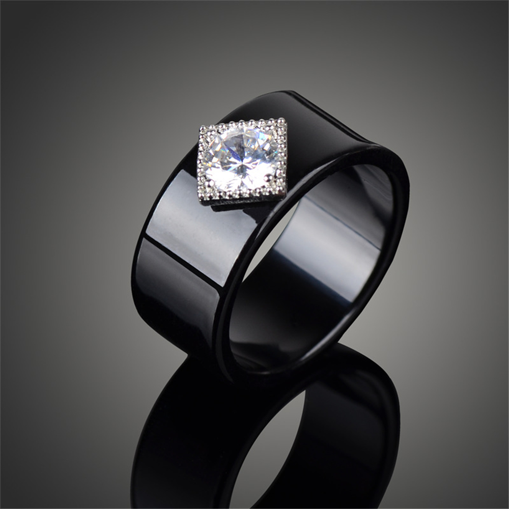 Fashion Noble Jewelry Rings for Women Men 3A CZ Cubic Zirconia Black Top Quality Acrylic Enagement Wedding Party Gift Lover Ring