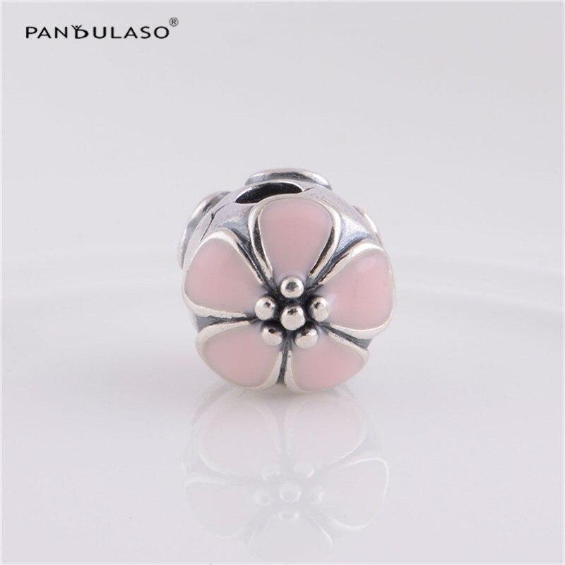 Pandulaso Pink Flower Clips Women Fashion DIY Beads for Jewelry Making Logo Girl Silver Beads Fit Charms Bracelets & Bangles