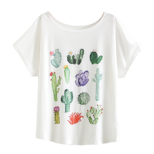 HTB1n4HCNpXXXXawaXXXq6xXFXXXo - New 2017 Summer Women Desert Cactus Print T Shirts Cute