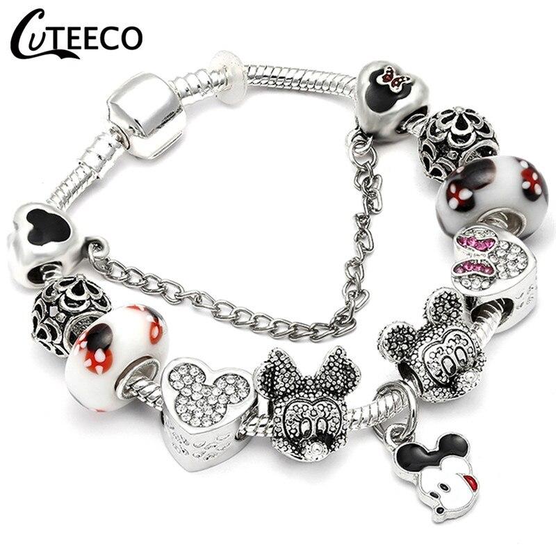 CUTEECO 925, модный серебряный браслет с шармами, браслет для женщин, Хрустальный цветок, сказочный шарик, подходит для брендовых браслетов, ювелирные изделия, браслеты - Окраска металла: AE079
