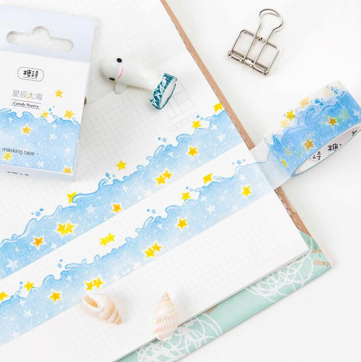 Fresh Star Blue Sea Washi Tape DIY Scrapbooking Sticker Label Masking Tape School Office Supply 1 5cm 5m star twigs gold silver washi tape diy scrapbooking masking tape school office supply escolar papelaria