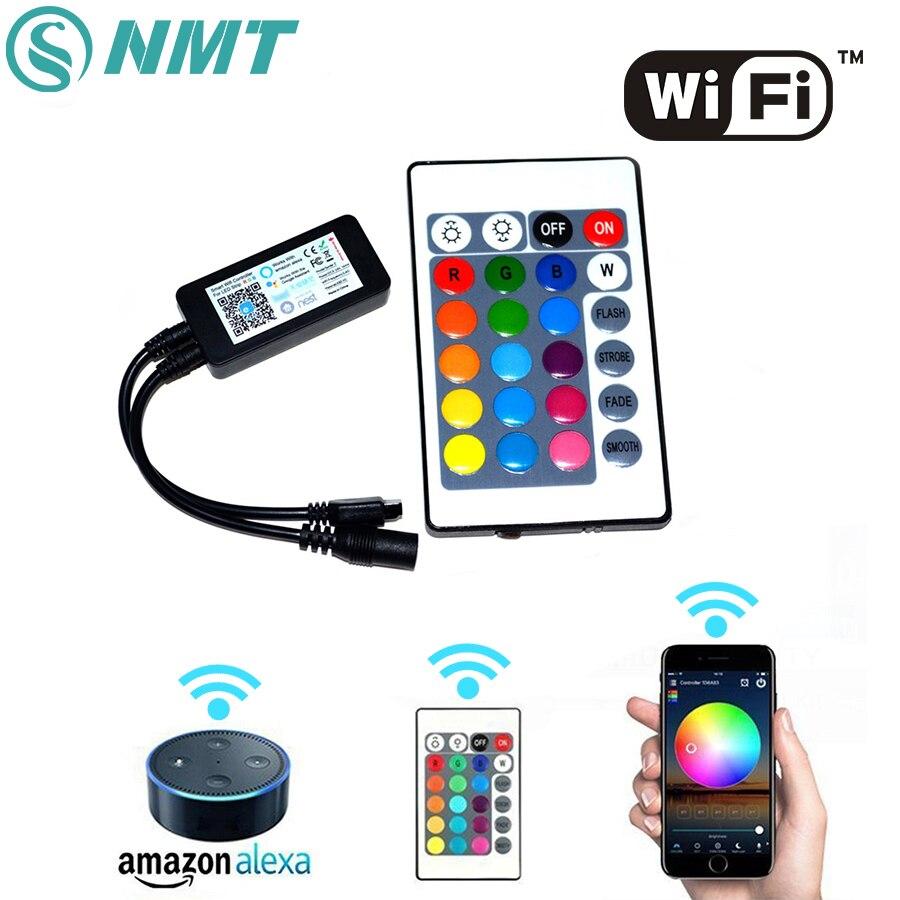 DC5-24V Sans Fil Téléphone Intelligent Wifi LED Contrôleur Travail Avec APP Alexa 24 Touches Télécommande Pour SMD 5050 3528 RGB LED Light Strip
