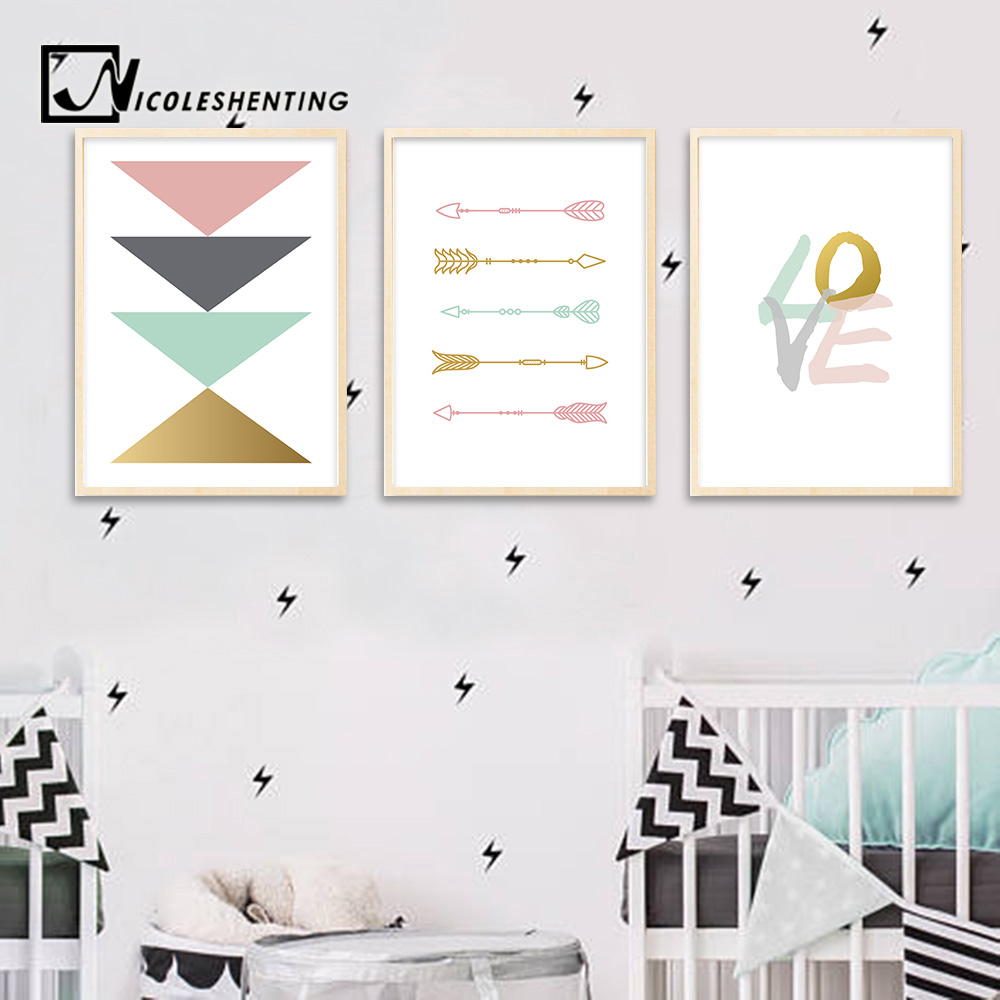 Arrow Geometry Wall Art canvas Posters Nursery Prints Nordic Style Abstract Painting Wall Pictures Baby Bedroom Decoration