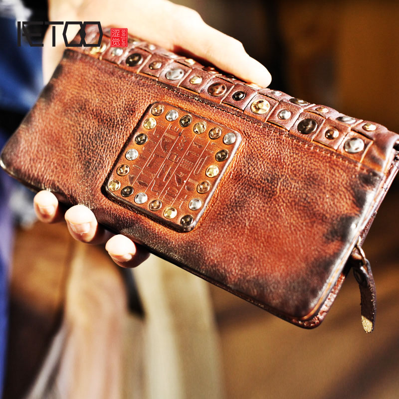AETOO Personality rivets street fashion head layer cowhide retro tide male cross section leather long paragraph Vintage wallet