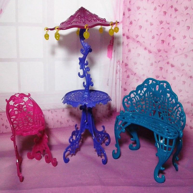 One Set Original Dollhouse Toy Furniture Sun Umbrella Couch Table Cafe Chair Sets 1/6 : monster high table and chairs - Cheerinfomania.Com
