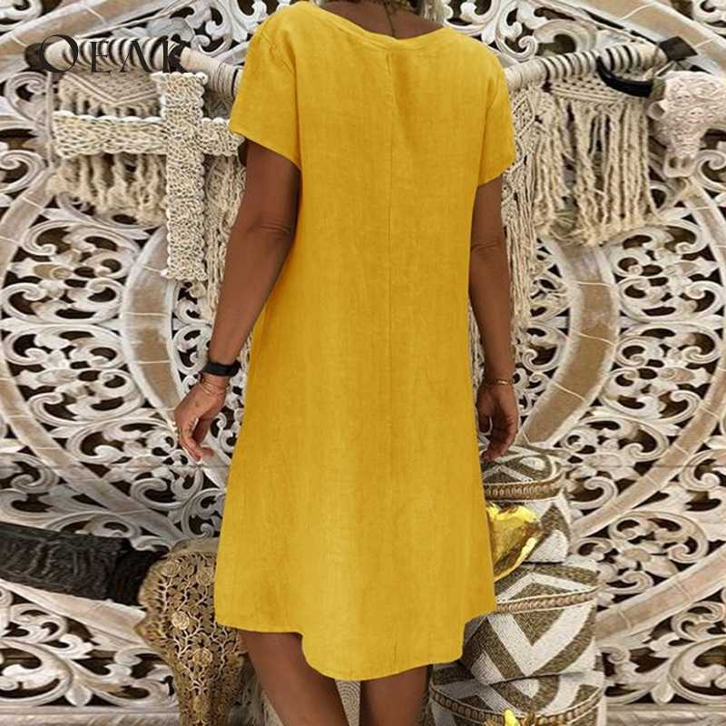 2d413b13f ... OEAK Summer V Neck Short Sleeve Loose Women Dress Causal Solid Dresses  Female Basic Vestido Chiffon ...
