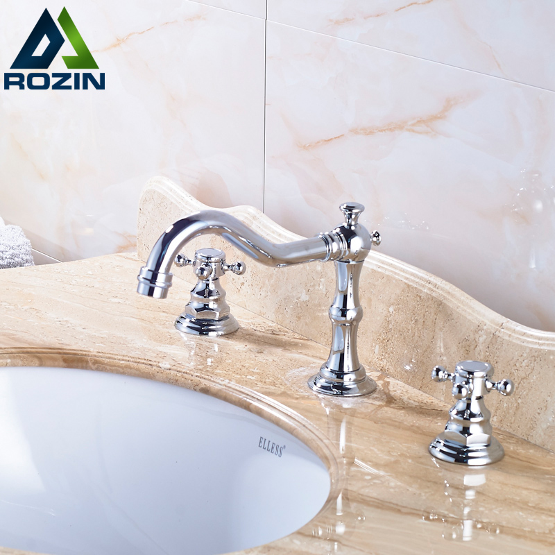 ФОТО Wholesale and Retail Bright Chrome Basin Faucets Three Hole Dual Handles Widespread Washing Basin Mixer Taps