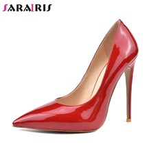 SARAIRIS New Thin High Heels Patent Pu Pointed Toe Shallow Shoes Woman Casual Office Sexy Spring Autumn Pumps Big Size 34-42(China)