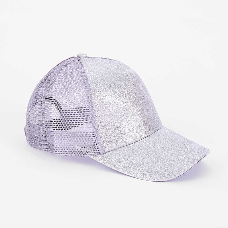 d090b150 Glitter Ponytail Baseball Cap Women Summer Mesh Hat Female Messy Bun Hats  Casual Adjustable Streetwear Hip Hop Cap 2019