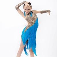 New style latin dance costumes senior leopard tassel latin dance dress for women/gilrs latin dance dresses S 4XL