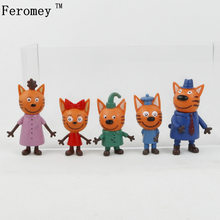 5pcs/lot Russian Happy Three Kittens Figures Toy Animals Cartoon Cat Figure Toys For Kids Children Gift Doll 6-8 Cm(China)