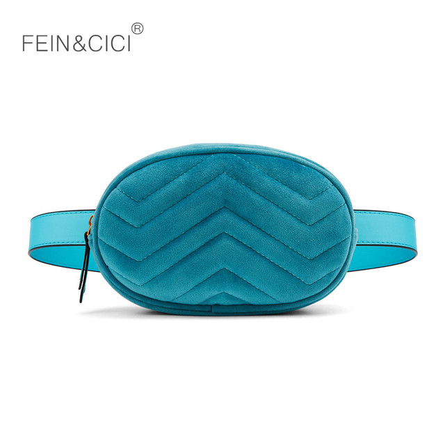 Waist bag women velour Waist fanny Pack bags luxury brand fashion leather velvet belt bag red blue black 2018 hight quality