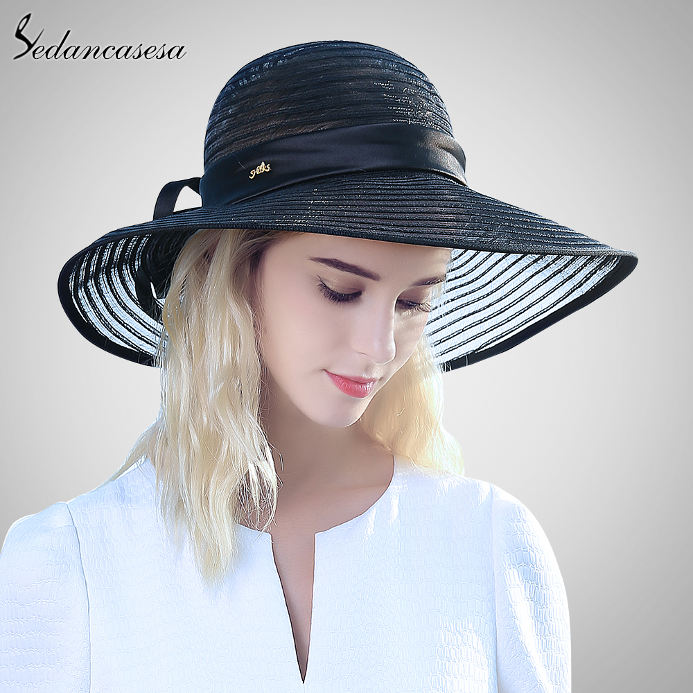 Summer Felt Sun Hat Women Vintage Wide Brim Lady Beach Sunhat Protection Caps Chapeu