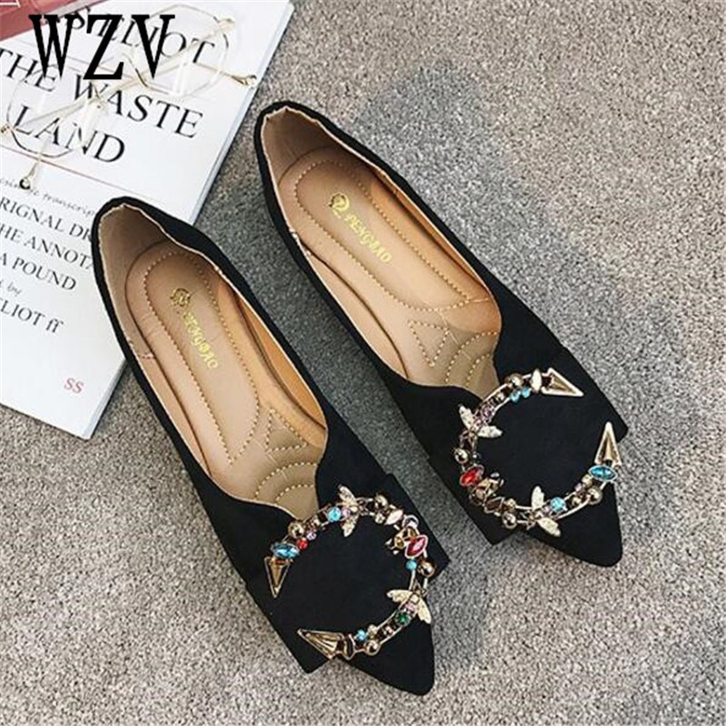 Korean 2018 Fashion Shoes woman Spring deerskin Women Flats Ladies Color diamond pointed Toe Slip-On Flat Women Shoes B438 buckle straps embellished women pu leather flat heel shoes korean fashion new 2017 ladies slip on designer flats round toe