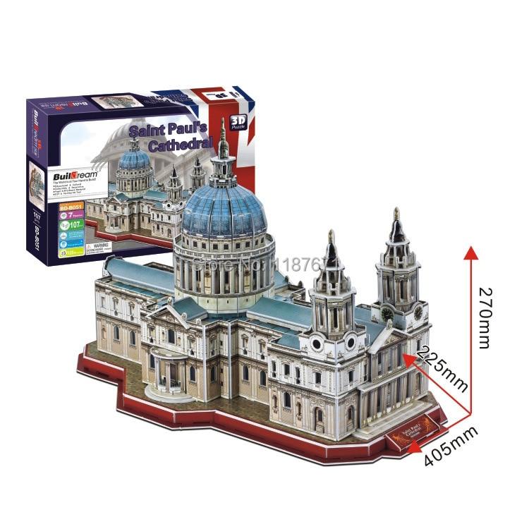 Paper Model Diy Saint Pauls Cathedral Enlighten Blocks Construction Educational playmobil Toys scale models Sets brinquedos