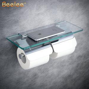Image 1 - Beelee rulo kağıt havlu tutucu Çift Katı Pirinç Cam Banyo tuvalet kağıdı Tutucu Rulo Kağıt Için Banyo Aksesuarları