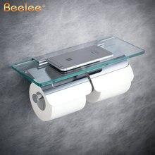 Beelee uchwyt na papier toaletowy podwójny mosiądz ze szkłem toaleta wc uchwyt na rolkę na rolkę papieru akcesoria łazienkowe