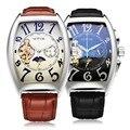 Sewor marca rectángulo de lujo correa de cuero análogo de los hombres reloj mecánico automático reloj de la manera caja de regalo 2016 nuevo