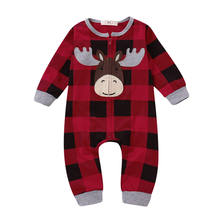 Baby Xmas Clothes Newborn Baby Girls Boys Moose Deer One-piece Romper Jumpsuit Outfits Clothing 0-18M Outfits(China)