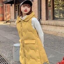 new Autumn Winter Spring Vest Women Waistcoat Female Sleeveless Jacket Hooded Warm Long Colete Feminino