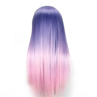 CAMMITEVER Purple Pink Change Color Hair Rainbow Hair Mannequin Heads Doll Manikin 2 Colors Hair Styling Mannequins