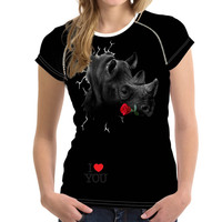 FORUDESIGNS Summer Woman Tops O Neck Bodybuilding Women T Shirt Famous Brand Women 3D Rose Shirts