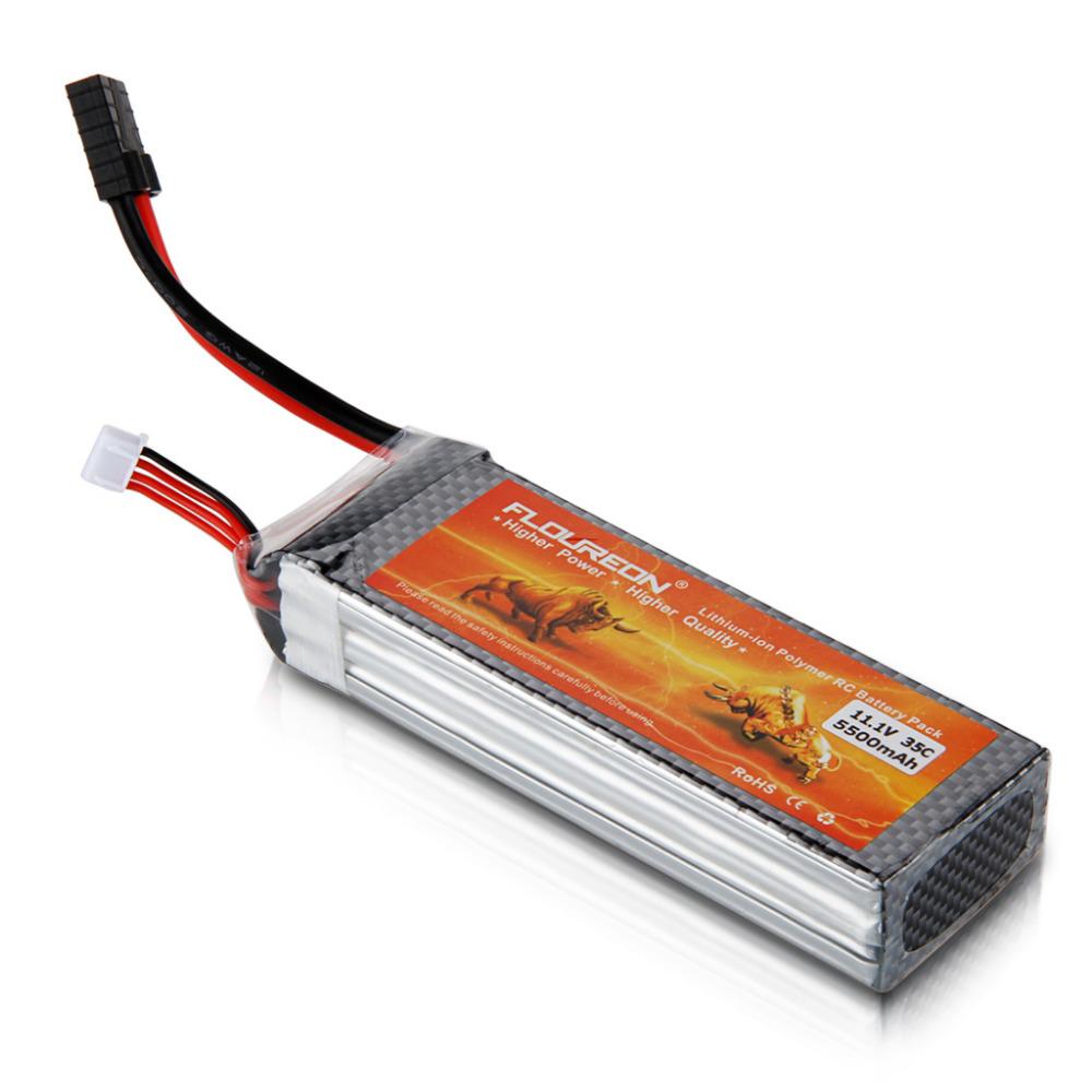 Prix pour Floureon 11.1 v 5500 mah 35c 3 s rc lipo batterie traxxas connecteurs pour hélicoptère rc jouets de contrôle li-poly batteries