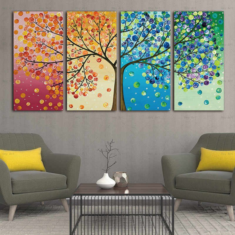 Abstract Tree Canvas Painting home decor picture Print 4 Panel Colorful Leaf Trees Poster Art Cuadros Artwork for  Walls Living