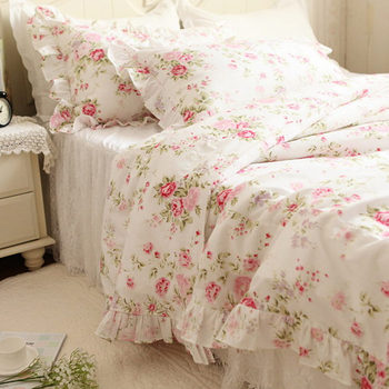 European style Pastoral bedding set flower print ruffle duvet cover quilt covers elegant embroidered lace yarn bedspread skirt
