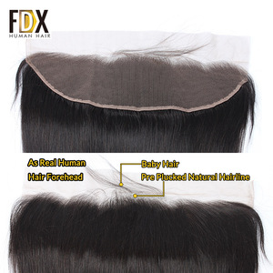 Image 3 - FDX Indian Hair Lace Frontal Closure 13x4 Swiss Lace With Baby Hair Natural Human Hair 8 10 12 14 16 18 20 Inches remy straight
