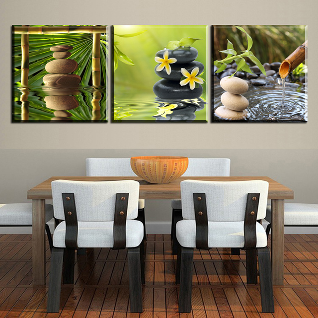 AB5 Canvas Painting Stone Flower Water, Bamboo Zen Canvas Wall Art Picture  Canvas Painting Modern