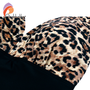 Image 5 - Andzhelika 2019 New Women One Pieces Swimsuits Sexy Leopard Patchwork Solid High Waist Bathing Suits Summer Plus Size Swimwear