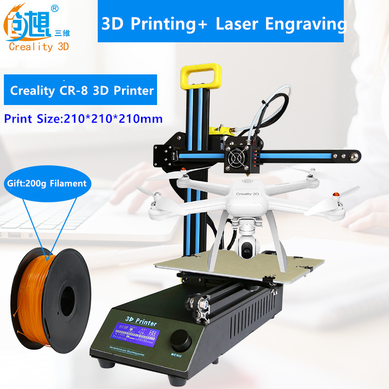 Creality CR-8 Portable Desktop 3D Printer Kit Print Size 210*210*210mm Can Laser Engraving Printer 3D Filament  Free Shipping flsun 3d printer big pulley kossel 3d printer with one roll filament sd card fast shipping