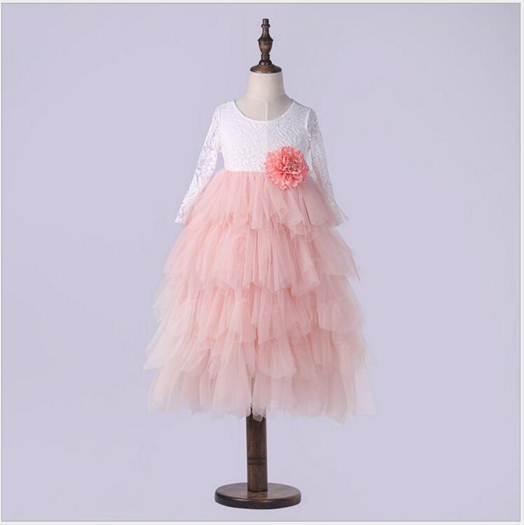 Girls summer floral dress princess long layered dress lace tiered tulle long sleeve wedding party dress costume for children floral school long sleeve princess girls
