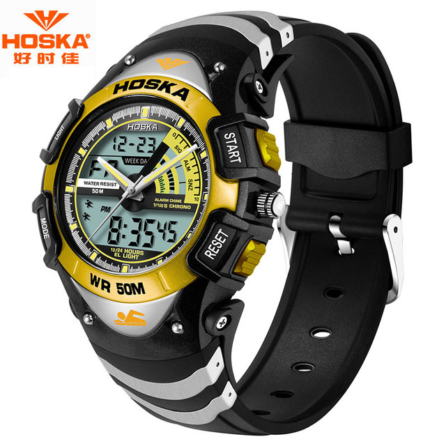 HOSKA Marca Crianças Esporte Natação Relógios Homens 50 m À Prova D' Água Quartz Relógio Analógico Digital Display LED Relógio para Crianças HD011